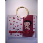 Betty Boop Tote Bag Kisses Design With Wood Handles