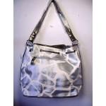 Pocketbook / Purse #25 Shoulder Bag Giraffe Print Silver & White