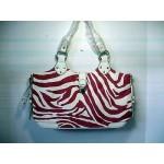 Pocketbook / Purse #28 Shoulder Bag Zebra Stripe Print Fuchsia & White