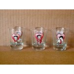 Betty Boop Shot Glasses Three (3) Piece Set Hearts Designs #1