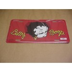 Betty Boop Metal License Plate Winking Design Red