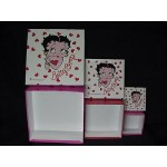 Betty Boop Keepsake Boxes 3 Piece Set Square Design