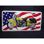 License Plate American Flag With Motorcycle Design