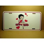 Betty Boop Metal License Plate Sitting On Name With Hearts Design