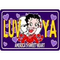 Betty Boop Metal License Plate Luv Ya Design