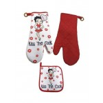 Betty Boop Oven Mitt & Pot Holder Set Kiss The Cook Design