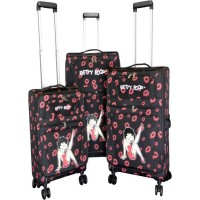 Betty Boop 3-piece Expandable Rolling Travel Luggage Set Leg Up Design