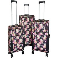 Betty Boop 3-piece Expandable Rolling Travel Luggage Set Multi Faces Design