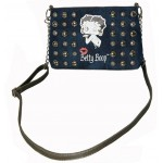 Betty Boop Pocketbook / Purse #86 Cross Body Kiss Design Denim With Studs
