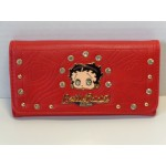 Betty Boop Tri-fold Wallet #060 Face Design Red