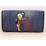 Betty Boop Tri-fold Wallet #038 Going My Way Design Denim