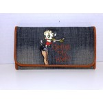Betty Boop Tri-fold Wallet #039 Going My Way Design Denim Black